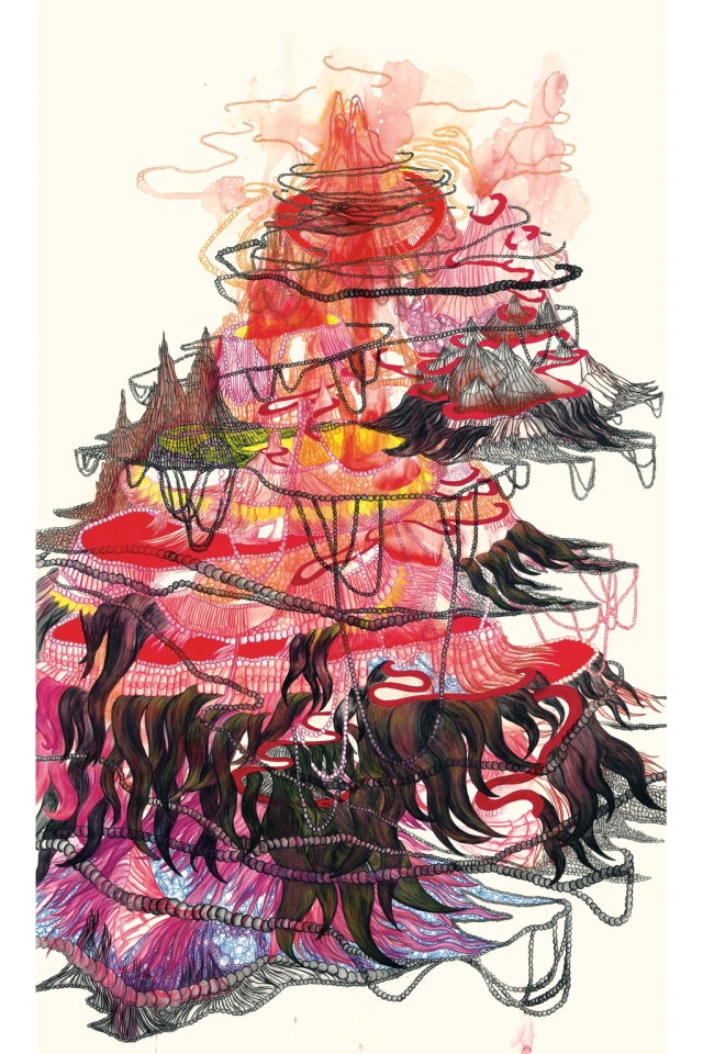 """Catherine Bolduc """"Le mont Royal vu du Japon"""" 2011 Aquarelle, crayon aquarelle et acrylique sur papier 185 cm X 114 cm"""