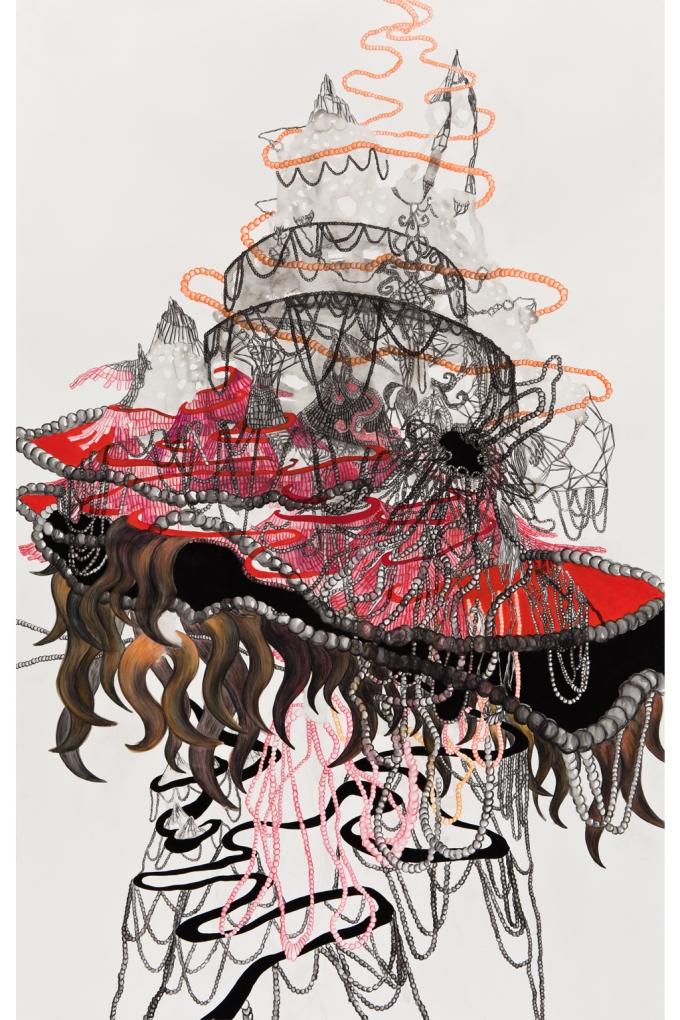 """Catherine Bolduc """"Chiri-yama ou toutes les montagnes sont faites de poussière"""" 2012 Aquarelle, crayon aquarelle et acrylique sur papier / Watercolor, watercolor pencil and acrylic on paper 185 X 114 cm"""