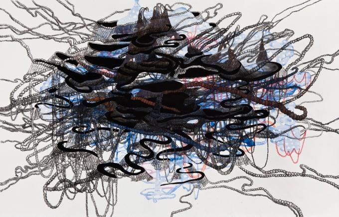 """Catherine Bolduc """"L'invraisemblable ascension de la véritable montagne / The Unbelievable Ascension of the True Mountain"""" 2012 Aquarelle, crayon aquarelle et acrylique sur papier / Watercolor, watercolor pencil and acrylic on paper 114 X 185 cm"""